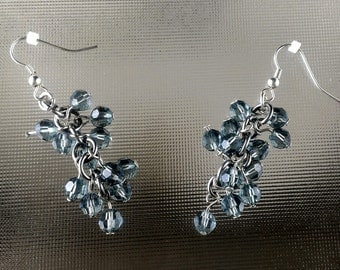 Swarovski Crystal and Aluminum Chainmaille Earrings