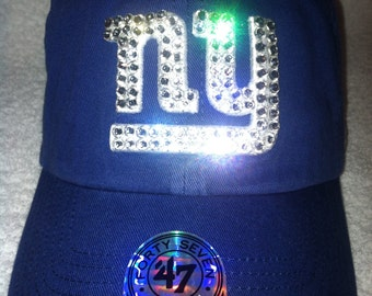 Swarovski Rhinestone Crystal NFL New York Giants Ladies Womens Cap Hat in Royal Blue 47 Brand