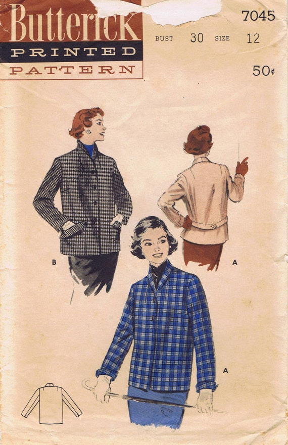 1950s  Boxy short Coat , Butterick 7045 Size 12