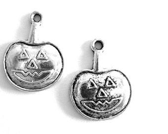 Silver Plated Halloween Charm- Set of 2 - Pumpkin