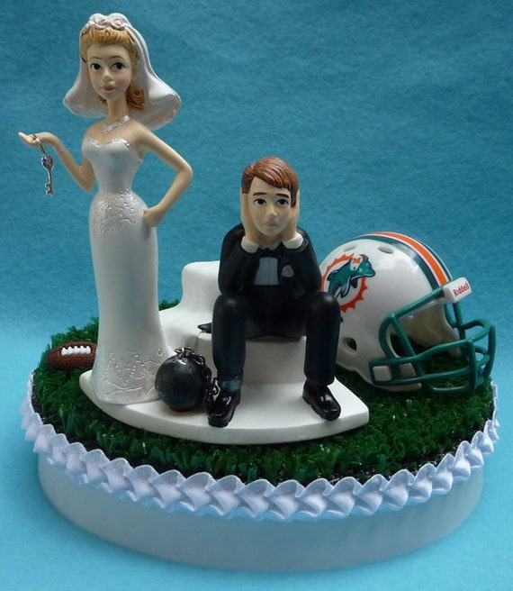 wedding cake toppers miami fl wedding cake topper miami dolphins football themed and 26535