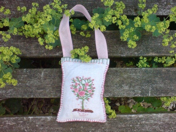 Hand embroidered  vintage Door hanger/Pin cushion/Scent sachet with hidden pocket and certified Organic wool filling