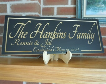 Personalized Family Last Name Engraved Plaque Established Date Wedding Anniversary Marriage Gift Wooden Carved Custom Made Sign Poplar 77