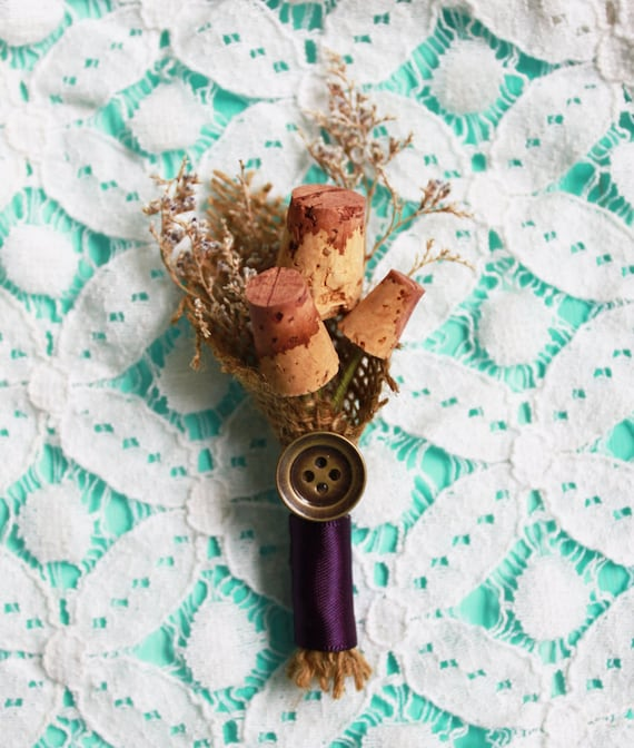 Wedding Cork Boutonniere: Items Similar To Purple WIne Cork Boutonniere On Etsy