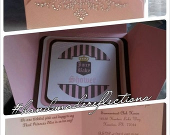 Gorgeous and Girly Handmade Baby Shower Invitations/ Juicy Couture Inspired/ Diamonds