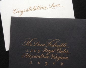 Personalized Calligraphic Note and Envelope