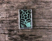 Vintage Inspired Wallpaper Pattern Turquoise Black Glitter 1 inch x 1.5 inch