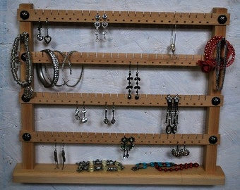 Stand with hanging shelf with hooks 48x48 - Natural