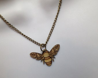 fabulous laser cut birchwood 'Bee' necklace