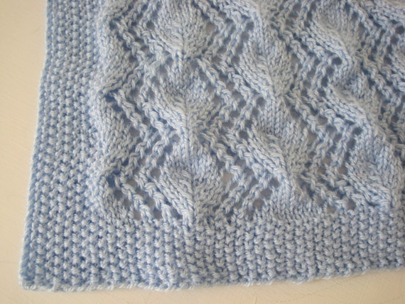 Baby Cot Blanket Knitting Pattern : Hand Knitted Vintage Pattern Soft Baby Afghan Baby Blanket