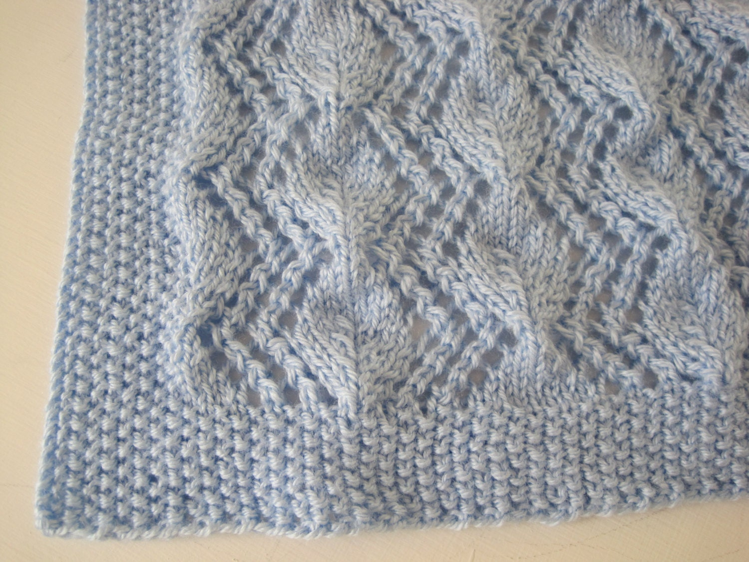 Hand Knitted Vintage Pattern Soft Baby Afghan Baby Blanket