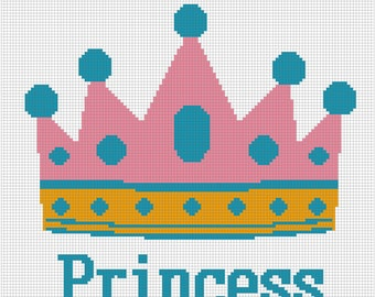 Crochet  Pattern Graph Chart  Princess Crown Afghan Blanket SALE