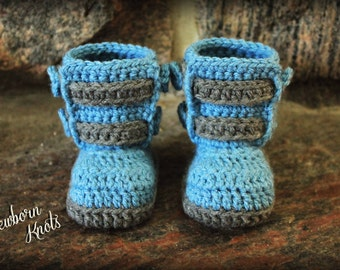 Crochet Pattern for Boys or Girls Double Strap Baby Booties. Pattern number 028. Instant Download