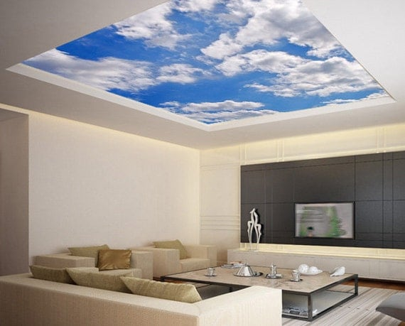 Ceiling sticker mural sky clouds cupola dome airly air by for Ceiling mural sky