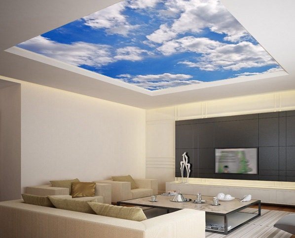 Ceiling sticker mural sky clouds cupola dome airly air by for Ceiling mural clouds