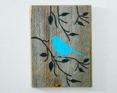 Reclaimed Barnwood, Hand-Painted Wood Wall Art Rustic Art -Turquoise Cottage Chic Decor - Bird on Branch Silhouette Design