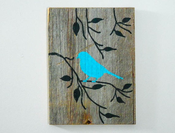 Hand Painted Wood Wall Art Rustic Art Turquoise Cottage Chic Decor