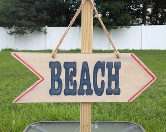 Handmade Beach Arrow Sign - Handpainted Beach Arrow Sign - Hanging Beach Sign - This Way To The Beach Sign  -Arrow Shaped Beach Sign
