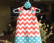 Coral and Aqua Medium Chevron and Dots Dress (girls, baby, toddler, infant, child) Easter, Spring, Summer,  jumper or sundress