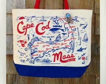 Cape Cod Beach Tote • Red & Blue