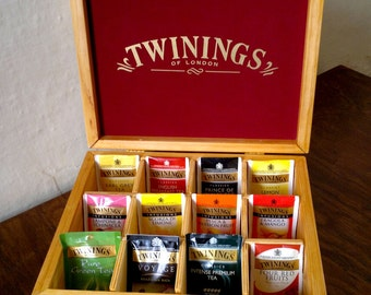 TWININGS Tea Box-wooden tea Box 12 door Edition-Wonderland compartments