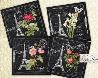 Digital Collage Sheet - Gardin a Paris -  4 x4 inch Printable download for Coasters Greeting cards Magnets Gift tags Paper craft