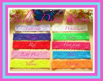 "Lace Headband elastic 1.4"" for vintage headbands 12 colors you can choose-toddlers, baby girls lace headbands photo prop"