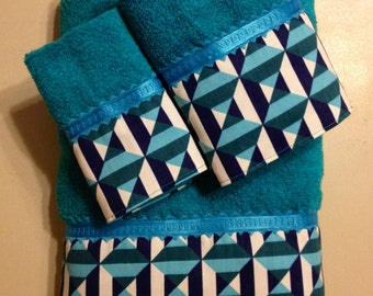 CLEARANCE SALE -- Turquoise Navy and White Square and Stripes Bath Towels (Ready To Ship)