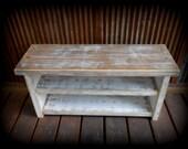 Pre-teen Shoe Rack Bench - Two Tone Rustic White