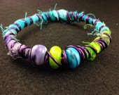 Fiber, Wire and Handmade Glass Bracelet