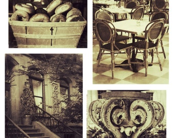 New York City 5 x 7 Print Set of 4 Sepia Collection-Interior Design-Wall Decor-NYC Art-Basket of Bagels-Brown Stone-Architecture-Cafe