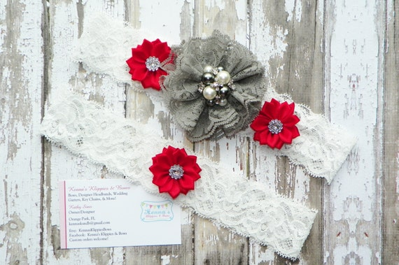 Grey and Red Wedding Garter Set, Burgundy and Grey Garter Set, Teal and Grey Garter Set, Keepsake Garter, Winter White Lace, Holiday Wedding