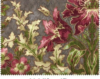 Large floral design with light grey background, burgandy and rose colored flowers and green and cream leaves.