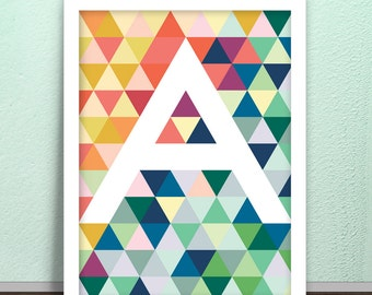 Triangles and more triangles, optical effect and an initial of your choice. Printable poster. Any letter.
