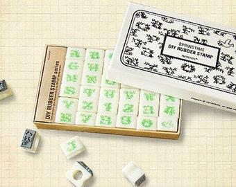 36 pcs /bos Spring Time Rubber Stamp Set - Alphabet Stamp Set - Letter Stamp Set - Rubber Stamps