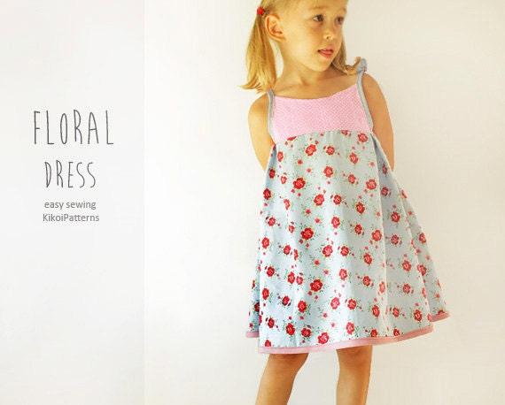 Floral girls DRESS sewing pattern easy summer toddler dress