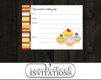 Printable, Instant Download Birthday Party Invitation - Cupcake