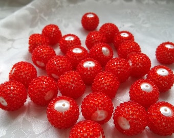 Set of 15 Bright Scarlet Red Acrylic 20mm Round Seed Bead Coated Decorated Bobbly Sputnik Beads #510