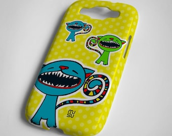 Cat (yellow and blue) - Samsung Galaxy S3 Case - Samsung Galaxy S3 Cover - Plastic Samsung Galaxy S3 Case