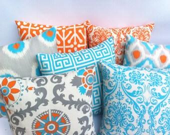 11 Sizes Available: One Orange and Aqua Blue Zipper Pillow Cover Orange Throw Zipper Pillow Cover lumbar pillow euro sham-HU1Z