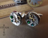 10% off sale16  Gift Boxed Mens Steampunk -Steampunk Cufflinks in Green  watch movements. Vintage upcycled mens Cuff Links