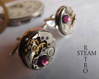 Steampunk Amethyst Cufflinks -  Steamretro - Mens Jewelry - Men cufflinks - Steampunk Cufflinks - Wedding cufflinks - steampunk - cuff links