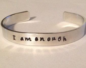 I AM ENOUGH-Custom hand stamped bracelet