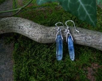 Vintage Kyanite Gemstone Earrings - Sterling Silver