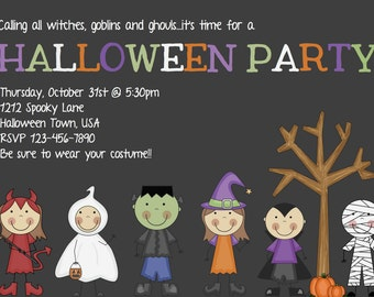 Kids Halloween Party Invitation - Printable Halloween Invitation