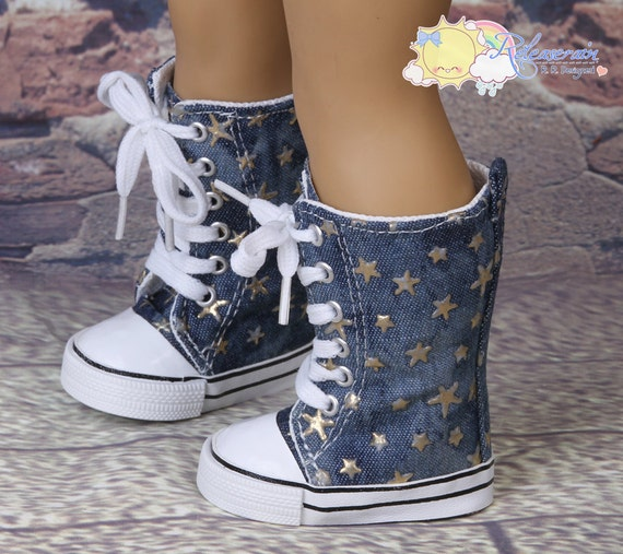 "Vintage Look Metallic Raised Gold Stars Washed Denim Lace-Up Knee High Top Sneakers Boots Doll Shoes for 18"" American Girl dolls"