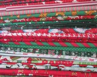 Holiday Fabric  squares - quilting fabric - Letter size squares - Fabric pieces  3 Pieces Pack