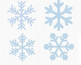 Let is Snow! - Set of SIX SNOWFLAKES - 2 Sizes ~ Machine Embroidery Design - Instant Download