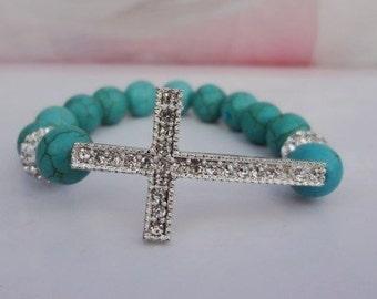 Turquoise Sideways Cross Bracelet Stretch or Shamaballa style