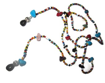 Multicolor eyeglass chain, glasses chain, stone eyeglass chain